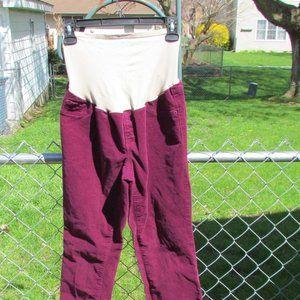 Old Navy sz10 Maroon Soft Corduroy Maternity Pants
